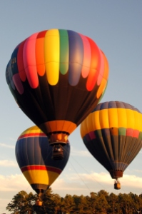 Three Hot air Balloons Mid-Air