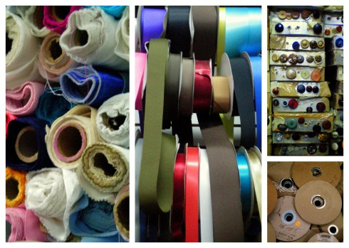 Fabric store, NY, NYC, New York, Lower East side, ribbon, fabric, spool, button