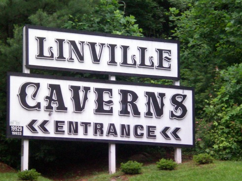 Linville Caverns entrance sign